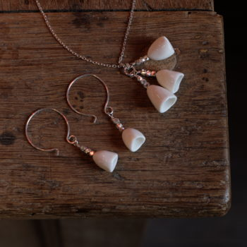 ensemble collier et boucles d'oreilles muguet en argent