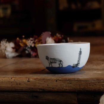 bol porcelaine bleu phare tigre